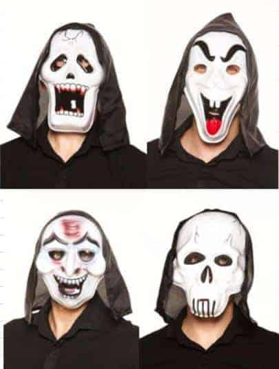 Masques en plastiques de tueurs en série