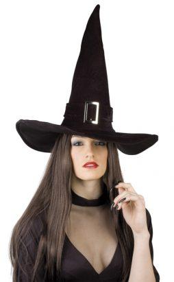Chapeau de sorcière imitation velours avec boucle