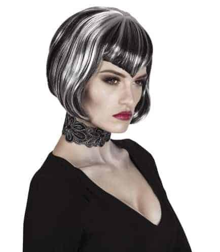 Perruque vampire femme courte noire te blanche