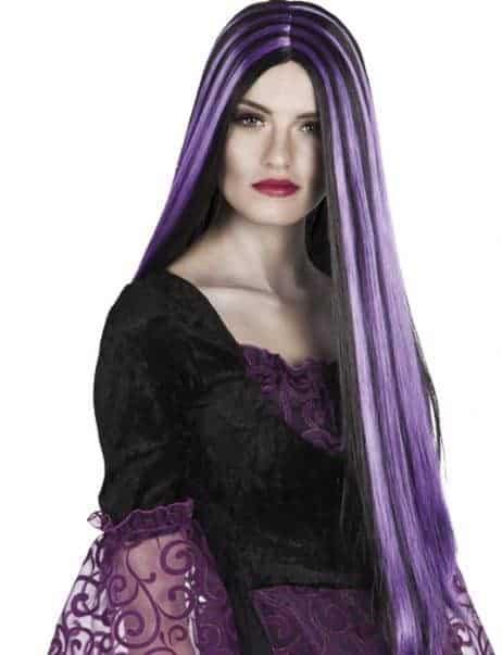 Perruque de sorcière cheveux longs noirs meches violettes