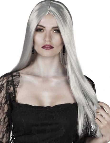 Perruque cheveux longs gris femme style gothique