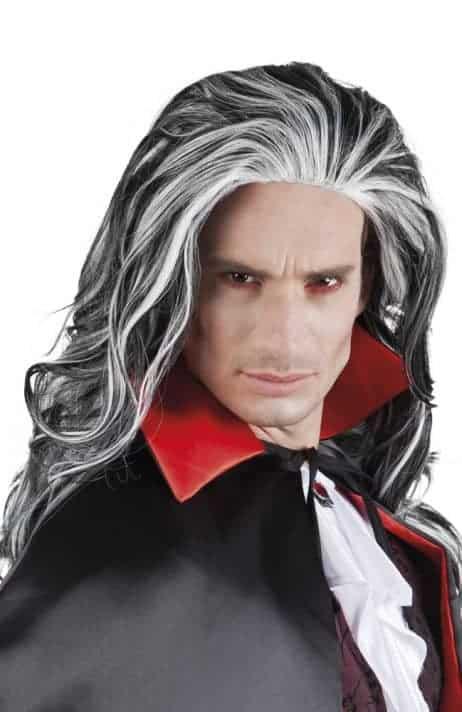 PERRUQUE DE VAMPIRE (Cheveux longs grisonnants) Modèle pour homme