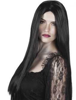 Perruque MORTICIA cheveux longs noirs et raides