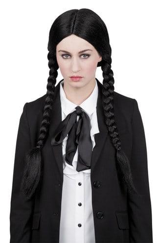 Perruque noire longue avec nattes