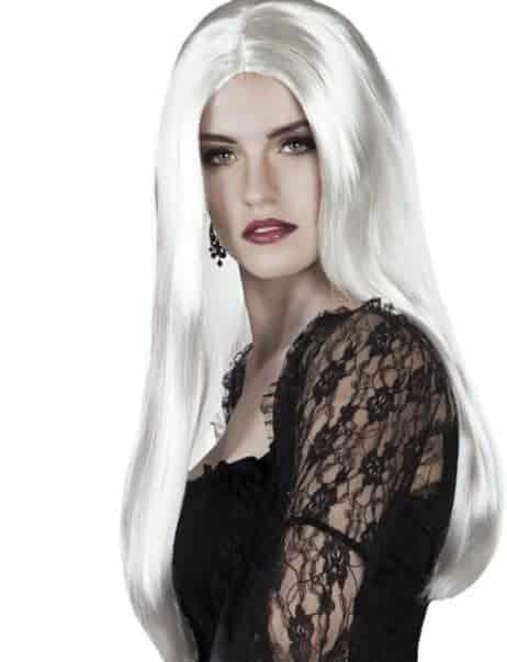 Perruque Morticia couleur blanche