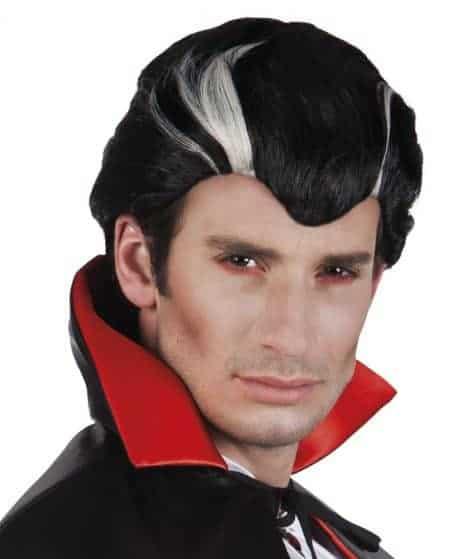 PERRUQUE DE VAMPIRE (Perruque noire et blanche) Modèle pour homme