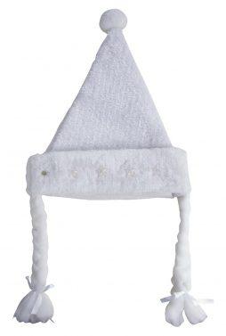 Bonnet de noel blanc etoiles lumineuses