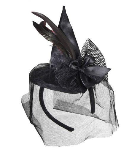 SERRE TÊTE SORCIÈRE (Mini chapeau + voilette)