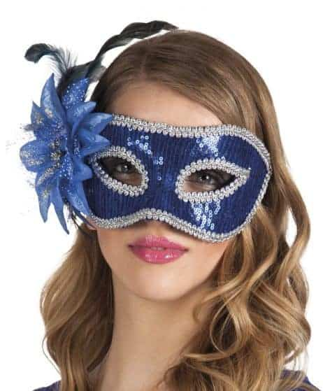 LOUP FLEUR BLEUE STRASS (Masque Loup Strass)