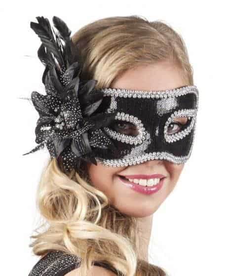 LOUP FLEUR NOIRE STRASS (Masque Loup Strass)
