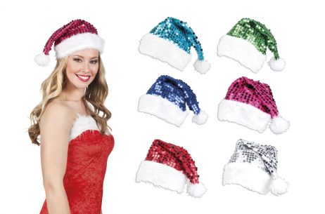 BONNET DE NOEL STRASS (COULEURS ASSORTIES)