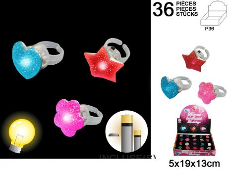 BOITE BAGUES LUMINEUSES (Boite 36 Bagues assorties)