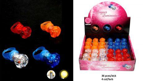 BOITE BAGUES MAGIQUES (36 bagues lumineuses) Assortiment 4 coloris