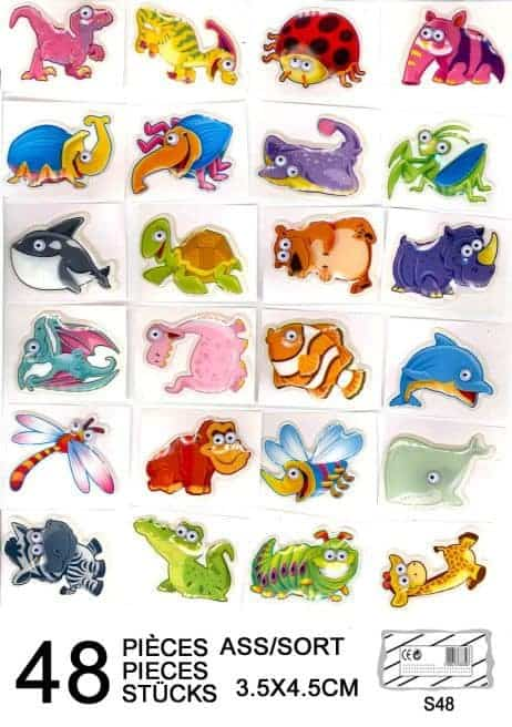 Lot de stickers animaux 3d