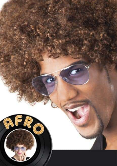 perruque marron afro