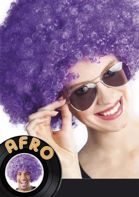 perruque afro violette