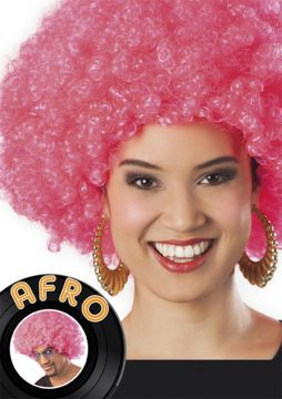 perruque rose afro