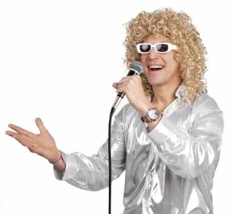 PERRUQUE CHANTEUR  (Perruque blonde + lunettes) Perruque star ou célébrité