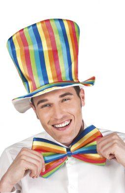 Kit de clown chapeau et noeud papillon arc en ciel