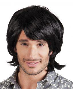 Perruque cheveux noirs homme