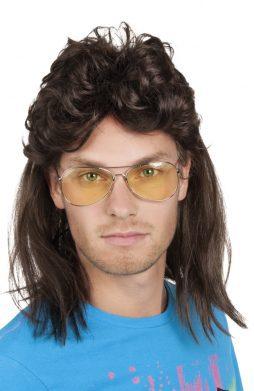 Perruque homme brun cheveux longs
