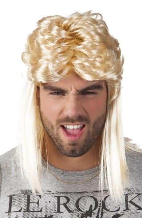Perruque blonde chanteur rock 80