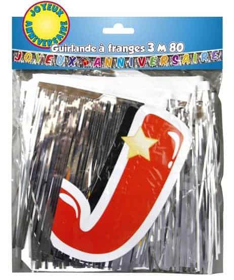 GUIRLANDE ANNIVERSAIRE (Lettres + franges - 3 m 80) Joyeux Anniversaire