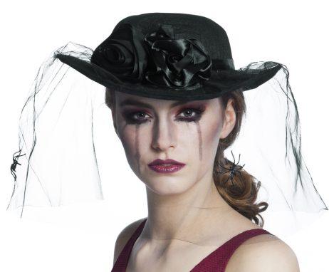 CHAPEAU DE VEUVE NOIRE (Belle Rose noire + voile)