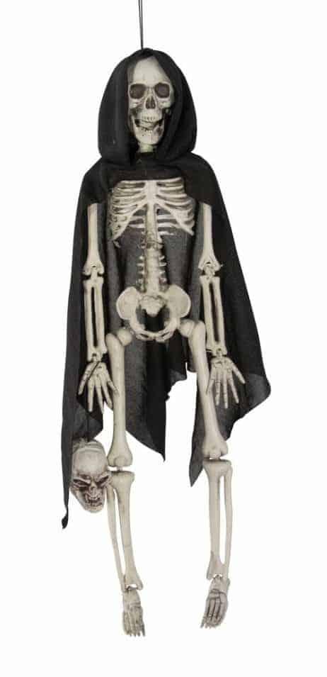 Squelette 40 cm avec cape noire