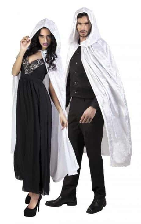 CAPE DE VAMPIRE VELOURS (Cape blanche avec capuche) Taille 170 cm