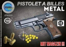 Pistolet noir a billes 22 cm