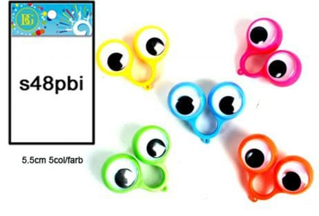 BAGUES AUX GROS YEUX Pack assorti pour les enfants (5 couleurs assorties)