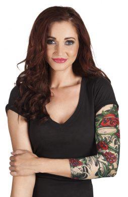 Manche tatouage rose