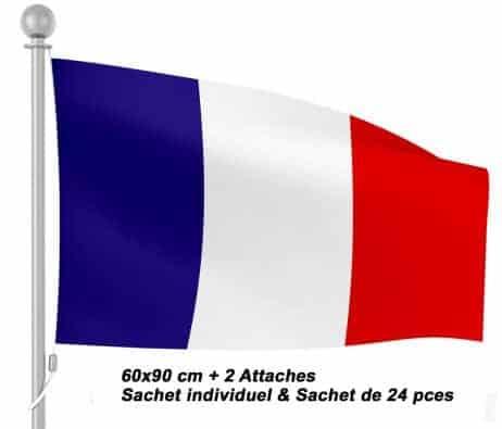 DRAPEAU FRANCE DE LUXE (Supporter France BBR) Taille 60 x 90 cm