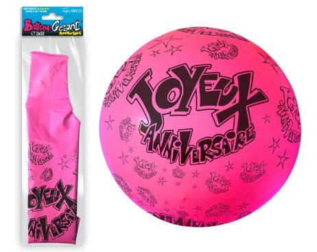 BALLON - ANNIVERSAIRE Ballon Géant Couleur Rose (Joyeux Anniversaire)