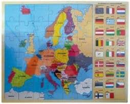 Carte europe puzzle en bois