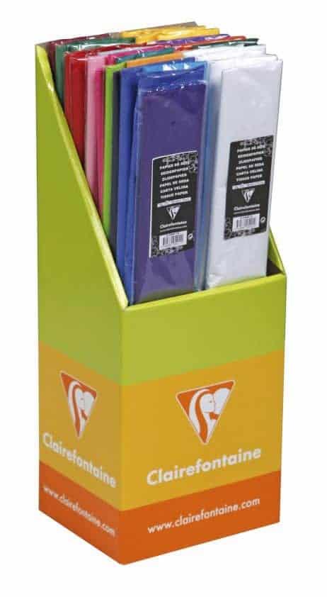 BOX PAPIER EN SOIE (Présentoir 40 paquets) Couleurs assorties