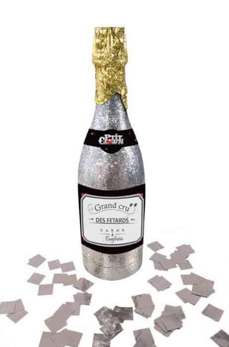 BOUTEILLE A CONFETTIS (Canon lance confettis) Paillettes argentées