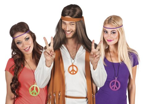 COLLIER HIPPIE NÉON (Assortiment 6 modèles) Peace and love