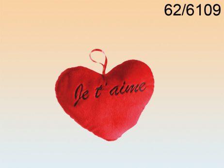 COEUR EN PELUCHE 18 CM (Inscription - Je t'aime) Spécial Saint Valentin