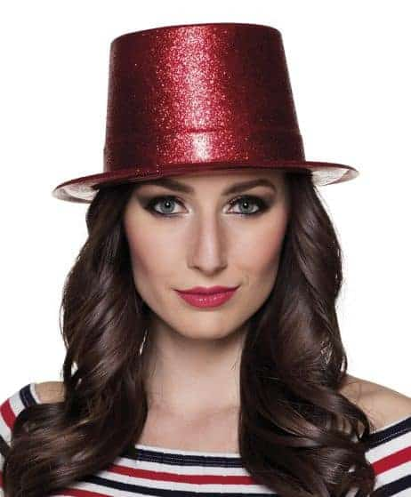 Chapeau strass rouge