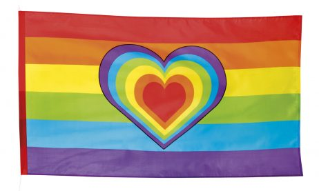 Drapeau coeur rainbow 90 x 150 cm