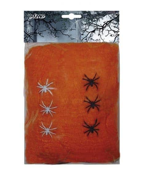 TOILE D'ARAIGNÉE ORANGE (Poids 100 gr + 6 araignées)
