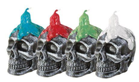 BOUGEOIR TÊTE DE MORT (Hauteur 10 cm - 4 coloris) Bougies incluses