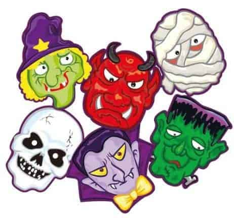 LOT MASQUES HALLOWEEN (Masques en carton assortis) Sachet de 6 masques
