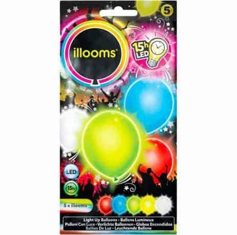 BALLONS LUMINEUX A LED (Sachet 5 ballons - 5 coloris) Taille 23 cm