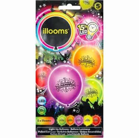 BALLONS ANNIVERSAIRE LED (Sachet 5 ballons lumineux) Taille 23 cm
