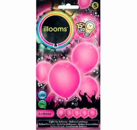 BALLONS ROSES A LED (Sachet 5 ballons lumineux) Taille 23 cm