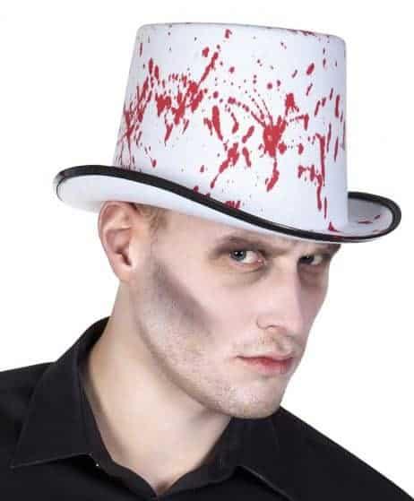 CHAPEAU BLANC AVEC SANG (Chapeau haut de forme) Chapeau Halloween