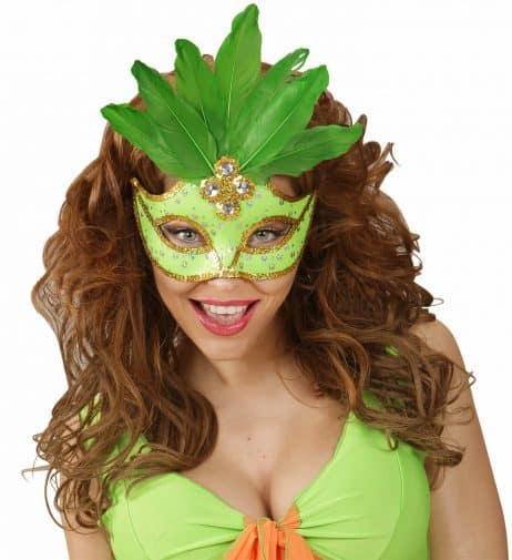 LOUP BRÉSILIEN VERT FLUO  (Masque et plumes néon)